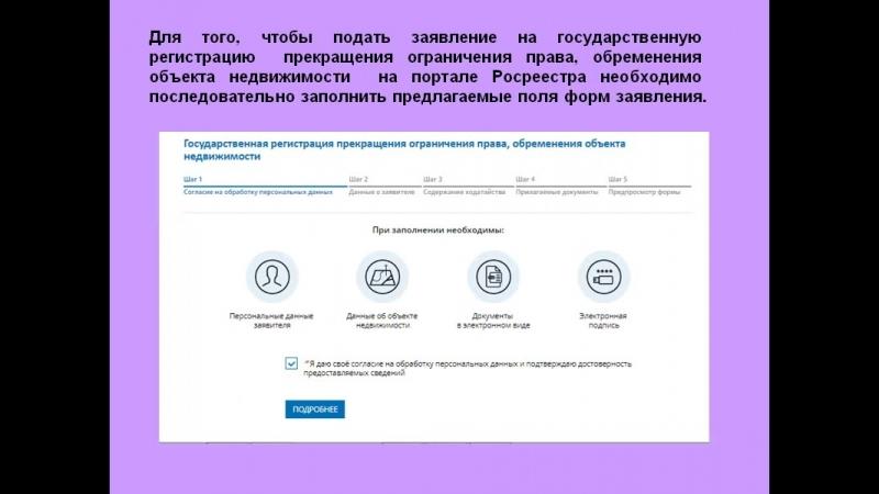 Государственная регистрация прекращения ограничения права, обременения объекта недвижимости