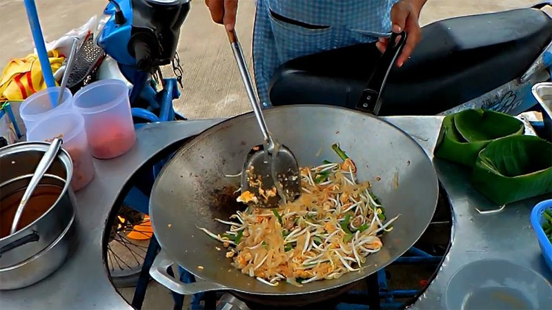 Street Food of Thailand. Pad Thai Noodle with Seafood