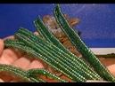 Длинный узкий лист из бисера: плетение и прошивка. Лист № 8. A long leaf of beads.