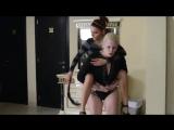 Lia piggyback riding exellent ponygirl Carola iv/iv