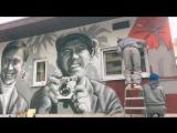 Граффити портрет Юрия Никулина из Бриллиантовой руки в Сочи