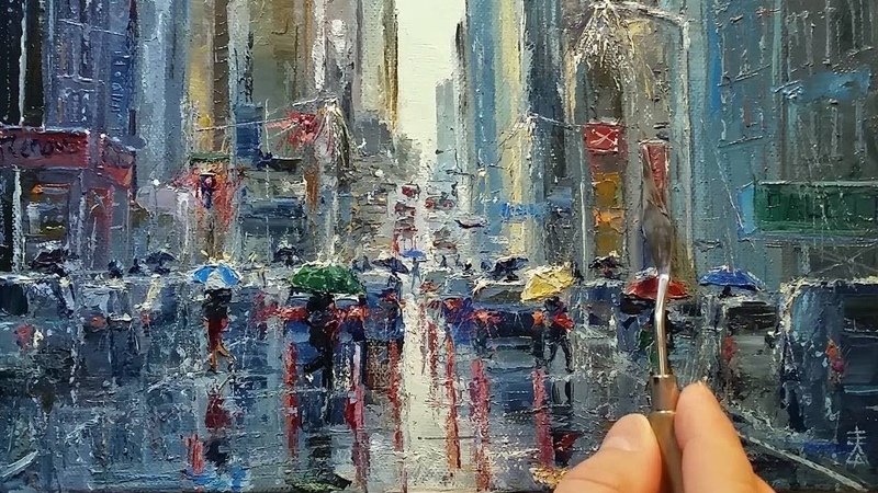 In the Rain - How to - Oil Painting - Palette Knife | Brush City Street Walk Dusan