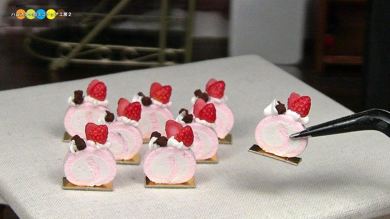 DIY Miniature Strawberry Roll Cake ミニチュア苺のロールケーキ作り Fake food