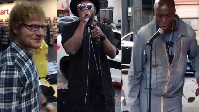 Famosos chegam de surpresa, artistas de rua cantam com seus idolos, Incríveis DUETOS