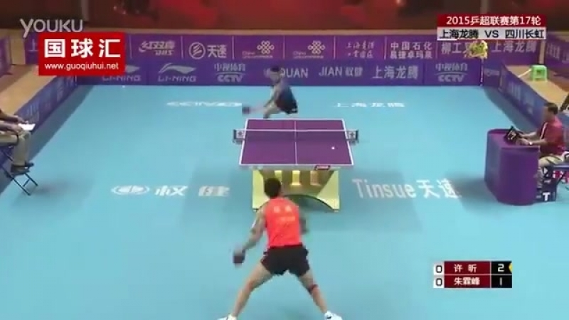 Out of this World tabletennis rally between Xu Xin Zhu Linfeng