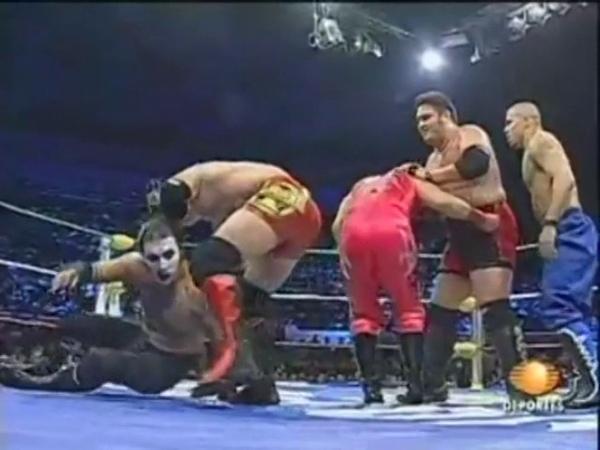 AAA AJ Styles, Samoa Joe, Low Ki Homicide Vs Histeria, Electroshock, Abismo Negro Charly Manso