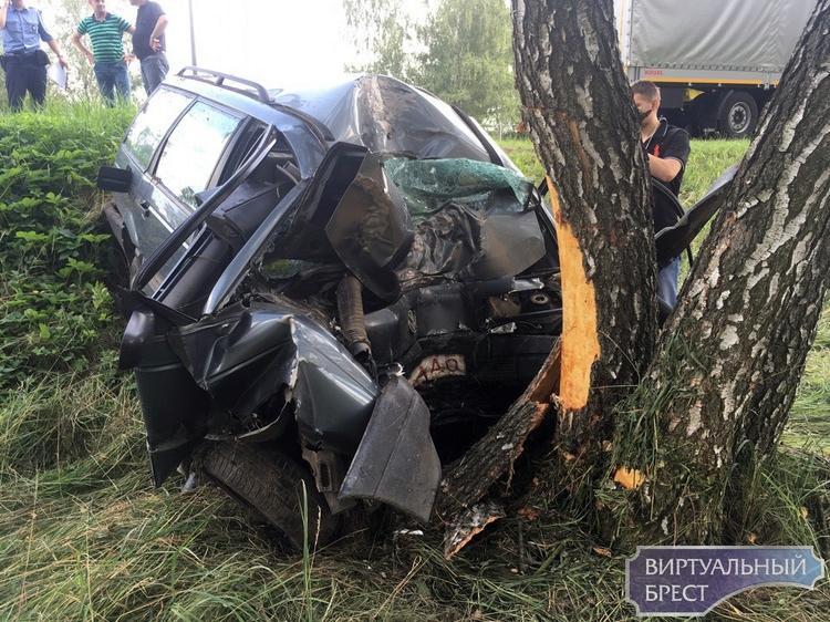 Серёзное ДТП под Брестом - VW впечатался в дерево