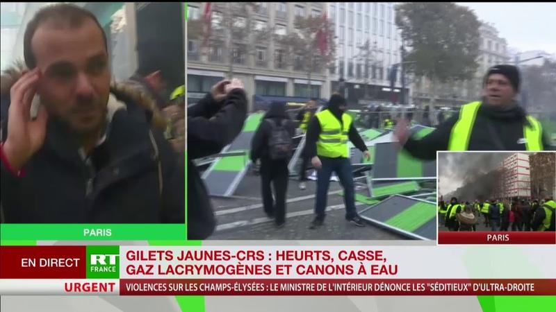 Le correspondant de RT France blessé à la jambe lors des heurts sur les Champs-Elysées