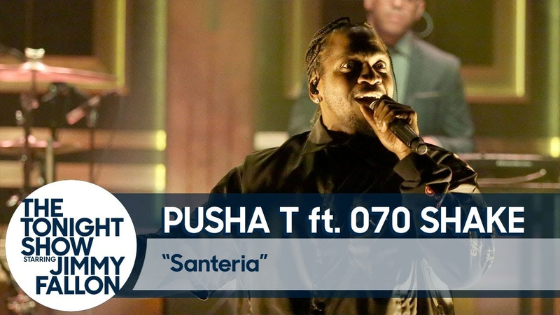 Pusha T performs Santeria with 070 Shake for the Tonight Show