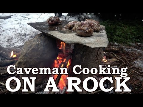 PRIMITIVE TECHNOLOGY | ROCK OVEN like CAVEMAN | Eating CAUL FAT, HEART, KIDNEY, TONGUE MEAT
