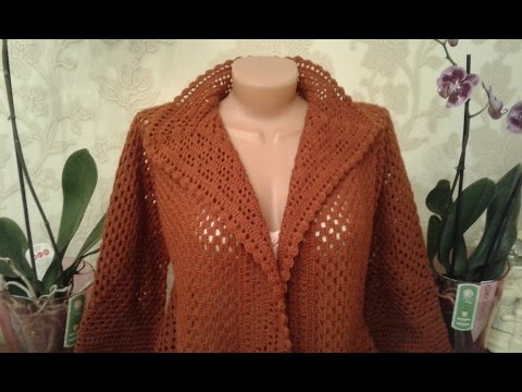 Кардиган из шестиугольников. Часть 4. Обвязка полочек и горловины. Knitting womens cardigan.