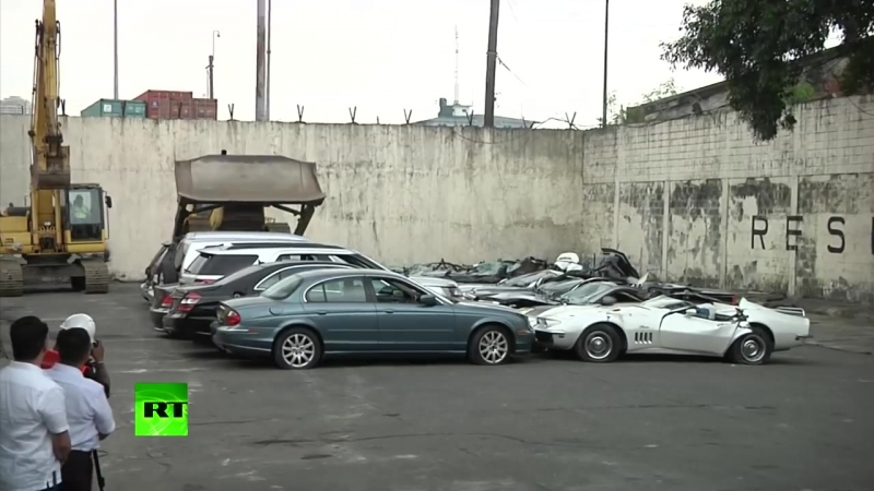 'Racket has to stop'_ Duterte bulldozes luxury cars to send message to smugglers