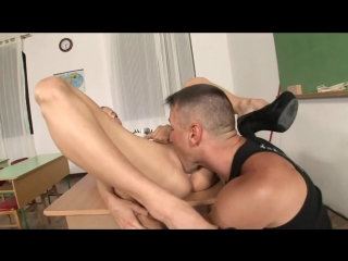 Euroslut has her ass plunged by the janitor