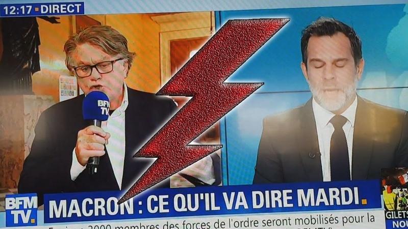 Collard se fait censurer sur BFM TV par un journaliste partisan (BFMTV, 23/11/18, 12h15)