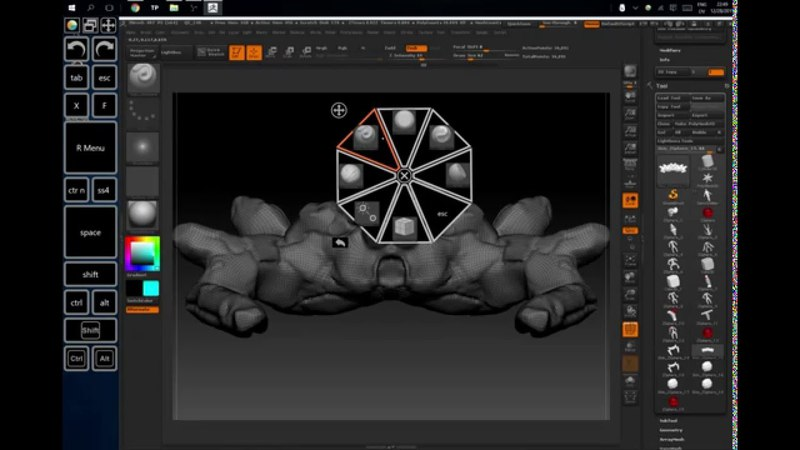 ZBrush Radial Menu on Surfare Pro 3