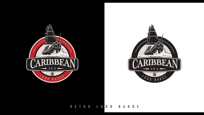 Retro Logo Badge Adobe Illustrator Tutorial Caribbean