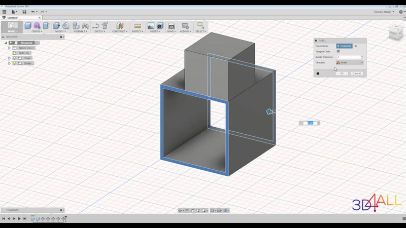 Урок 8. AUTODESK FUSION 360. ВКЛАДКА MODIFY [ИНСТРУМЕНТЫ - SHELL, DRAFT, SCALE. COMBINE, MOVE]