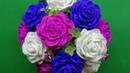 Hướng dẫn làm hoa hồng từ giấy nhún mẫu 1