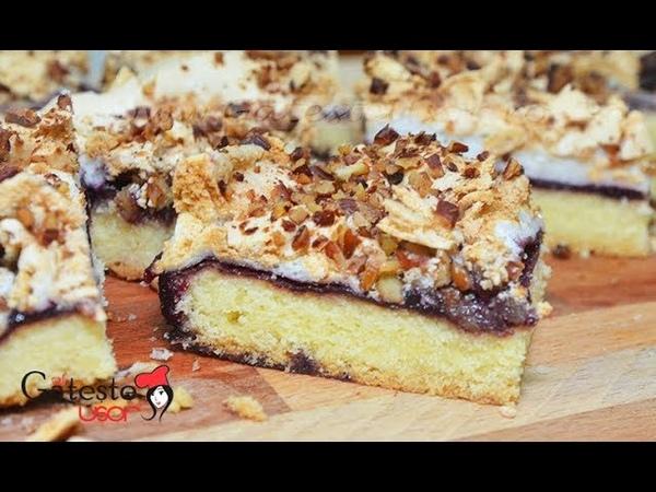 Пирог со сливовым повидлом (джемом) с безе и орехами Reteta de Prajitura Arlechin cu Gem de Prune si Bezea