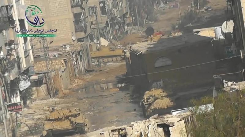 Siria_ Tanque T-72 incursiona en la Ciudad de Daraya (2da parte)
