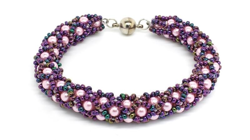 Браслет в технике ажурный жгут из бисера и бусин мастер класс DIY Bracelet from beads