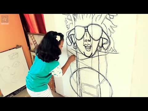 Like a little Jean-Michel Basquiat. Younges contemporary painting artist Prakritee. 9 years old.