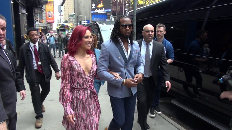 Josh Norman and Sharna Burgess outside Good Morning America in New York