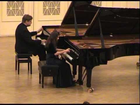 Anastasia Sokolova Peter Laul. Mozart.Larghetto e Allegro in E flat for 2 pianos.