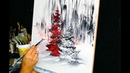 Red Pine Tree abstract painting by Dranitsin