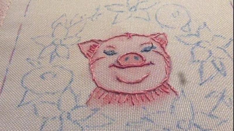 МК по вышивке Хрюндель в цветах, ч.4: вышиваем глаза и ноздри