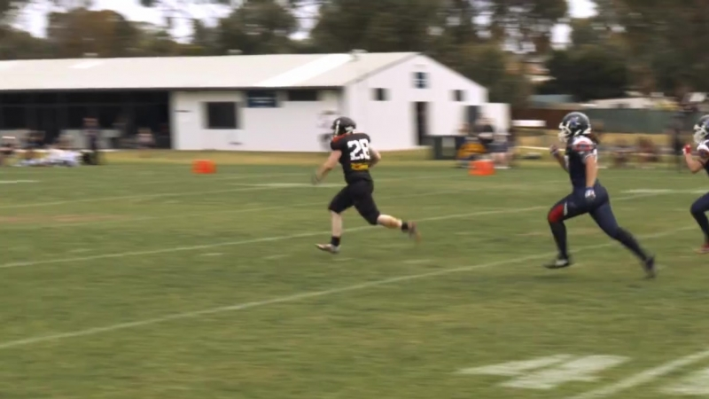 The Curtin Saints Women's Football Team return a kickoff for a touchdown against the Swan City Titans on Saturday October 6, 201