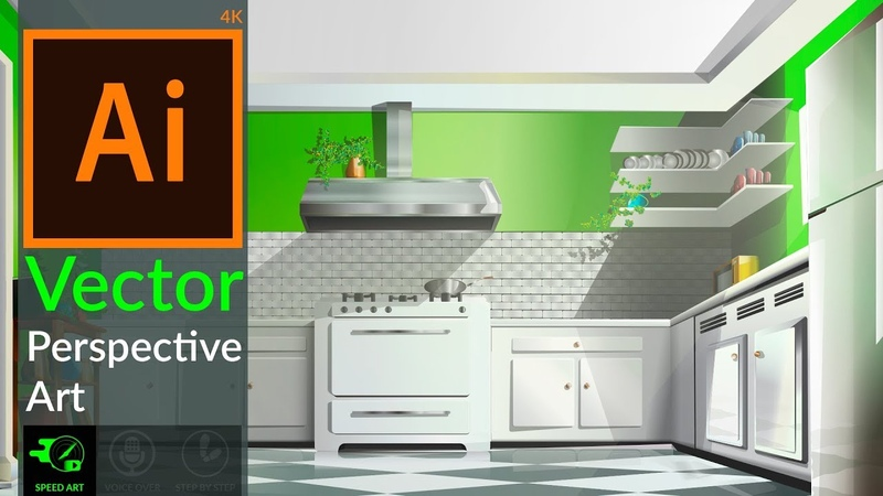 Drawing Vector Perspective 3D Kitchen in adobe illustrator CC .[Speed Art]