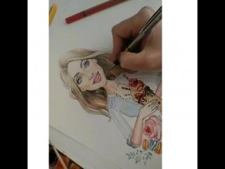 Процесс создания портрет-логотипа для @eva_crafts А у вас есть свой логотип?
