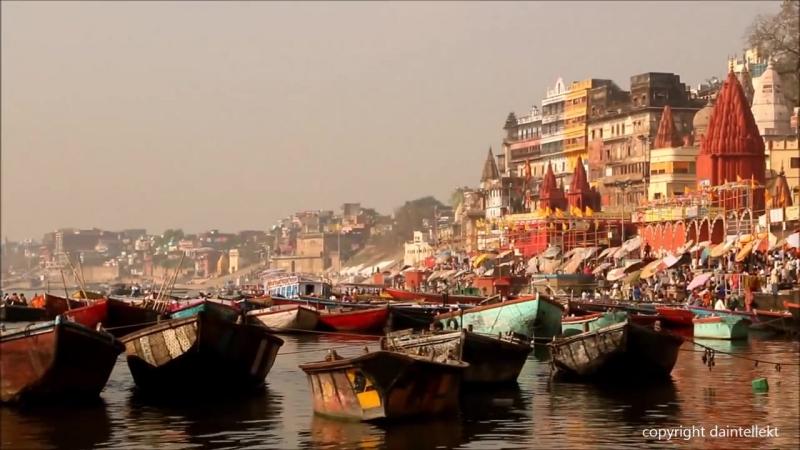 Varanasi Ghat ,India Morning Hindu Rituals Ganga River