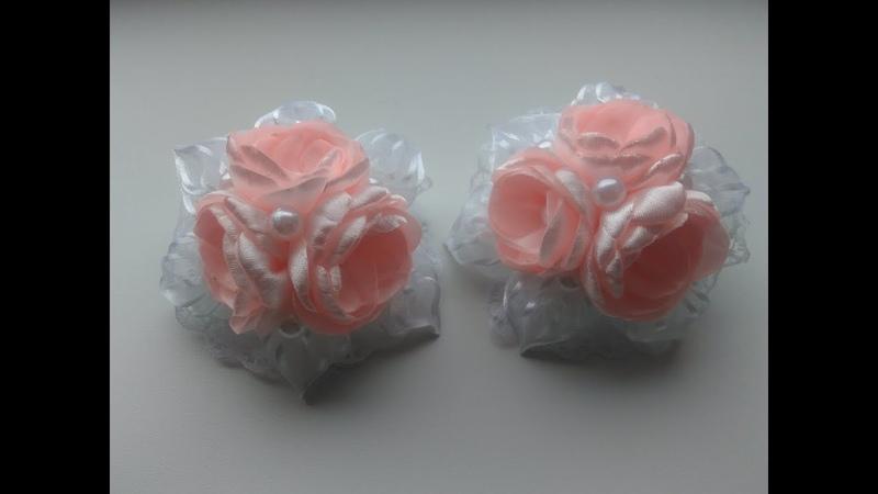 Нарядные бантики из лент МК Канзаши Elegant bows from MK Kanzashi ribbons
