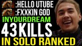 InYourdream go Crazy! SEA Top-2 MMR 43 Kills Bloodbath in Solo Ranked DOTA 2