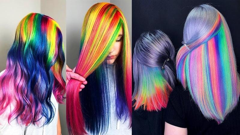 Best Hair Color Transformation. Rainbow Hair TutorialsCompilations