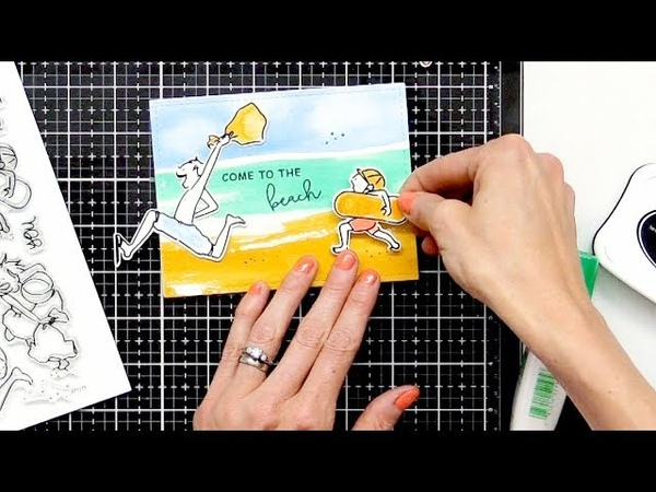 How to Create Beach Scenes for Cards with Channin Pelletier   Waffle Flower Crafts