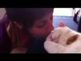 Реакция котейки на поцелуй