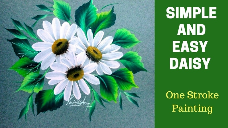 Simple and easy Daisy using filbert brush | Tutorial with Details