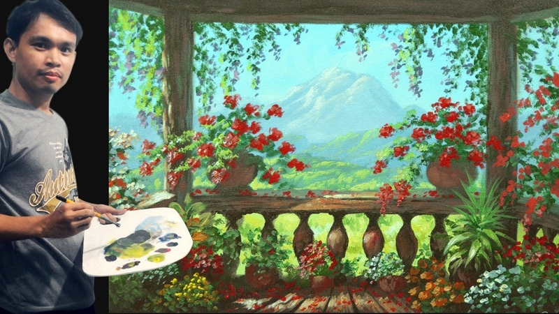 Acrylic Painting Tutorial | View from Balcony with Flowers by JMLisondra