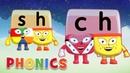 Alphablocks - Learn to Read   SH CH Teams   Phonics for Kids