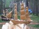 070 Парк деревянные скульптуры России Park wooden sculpture carving резьба по дереву бензопилой арт