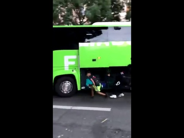 Stealing Luggage From a Moving Bus in France