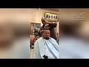 Парикмахер стрижёт клиентов, используя вместо ножниц болгарку