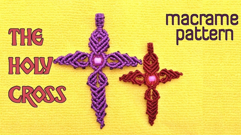 Macrame the holy cross pattern tutorial - easy step by step guide by MACRAME TITA youtube channel ^^ Макраме видео мастер-класс