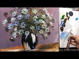 Paint a wildflower vase using a Palette knife in Acrylic