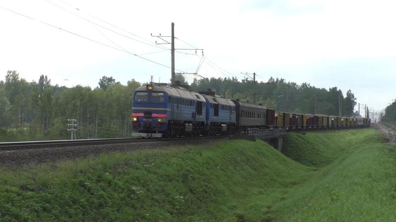 Тепловоз 3М62У-0098 с хозяйственным поездом