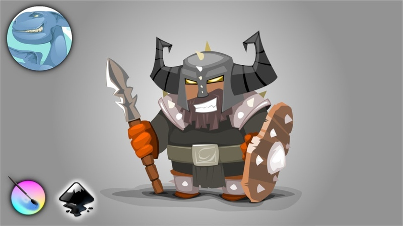 Cartoon warrior character. A quick sketch in Krita and vector drawing in Inkscape.