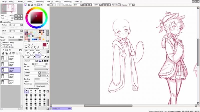 【Speedpaint】- My New Mascot ! Momoko (как рисовать аниме в саи)